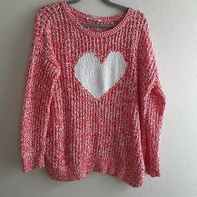 Motherhood Maternity Oversized Red Cable Knit Sweater With White Heart XL