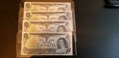 Lot of 4 1973 Canada $1 One Dollar Bills Consecutive Serial Numbers