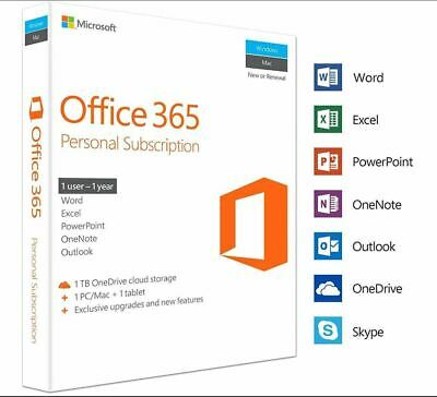 Microsoft Office 365 Personal - 1 User - 1 Year Subscription - 5 PC or MAC 2019