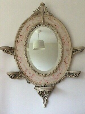 Exquisite Antique French Rococo Decorative Wooden Mirror ~Stunning Scroll Detail