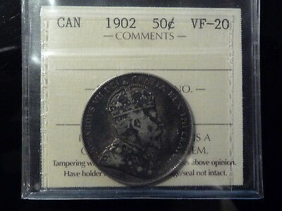 1902 Canada silver fifty 50 cents **ICCS VF20**