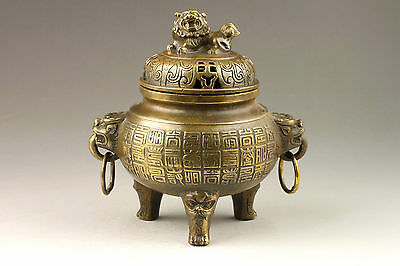 Chinese Handmade Exquisite Ancient Text Bronze Incense Burner