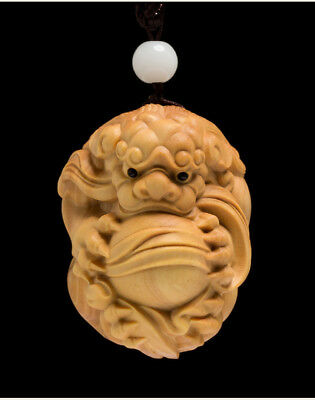 Chinese Hand Carved boxwood Pi Xiu Statue Carving Netsuke 5X3.8X3.4 CM