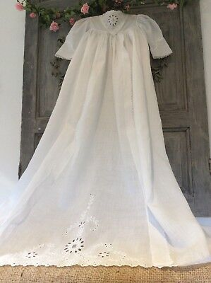 Antique French Christening Gown/Dress ~Fine Lawn Cotton~Floral Broderie Anglaise