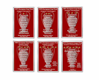 6 x LIVERPOOL European Cup / Champions League Winners Fridge Magnets  - YNWA