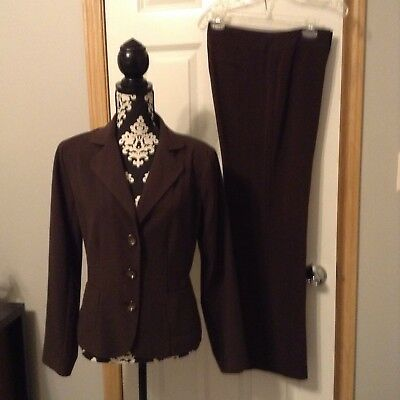 Women's Brown Harve Bernard Suit Jacket Size 10