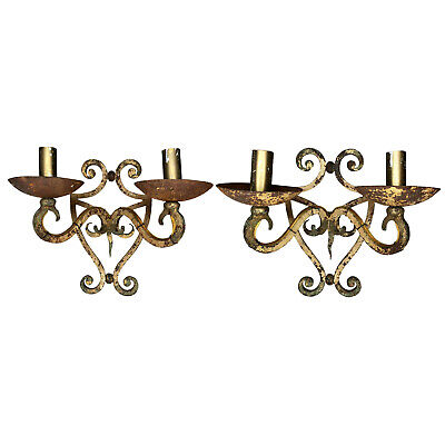 Antique French Wrought Iron Sconces - A Pair