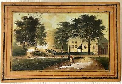 Antique Folk Art Hand Painted English Village Home Trinket Box Stenciled Border