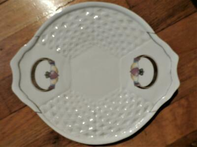 "Irish Parian Donegal ""CLADDAGH"" China 2-Handle Basket Weave Tray"