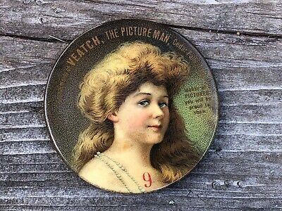 RARE Celluloid Advertising Pocket Mirror Veatch Photography Cedar Falls Iowa