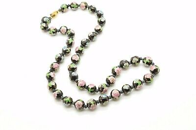"Cloisonne Hand knotted Very Rare Vintage Enameled Black 26"" Necklace Beads"