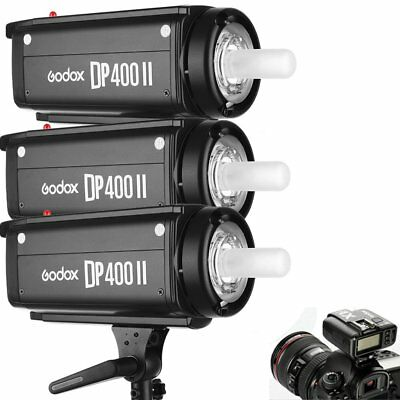 3Pcs Godox DP400II 400W 2.4G Wireless X System Flash Strobe Studio + X1T Trigger