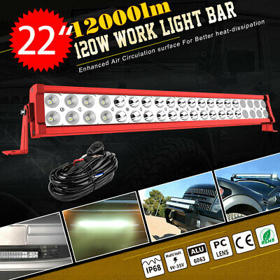 22inch 120W LED Light Bar Flood Spot Combo for Offroad SUV ATV 4WD + Wire Kit