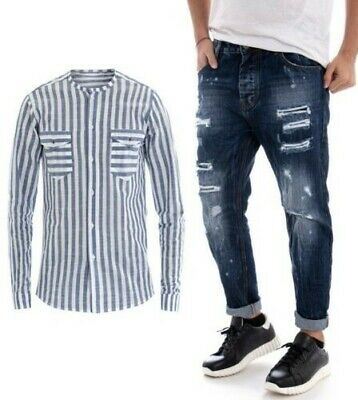 nice cheap latest discount clearance sale ENSEMBLE PANTALON JEANS Denim Outfit Chemise Homme Ligné Bleu Rayé Giosal