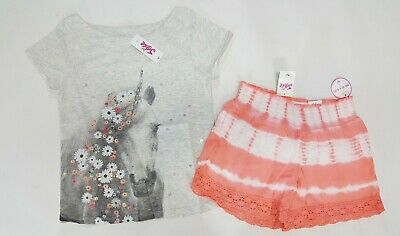 NWT Justice Girls Outfit Size 6//7 10 12 14//16 Paris Sequin Rainbow Top /& Shorts
