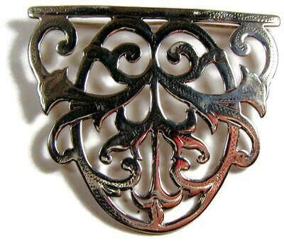1912 Arts & Crafts English Sterling Silver Pierced Brooch Signed Turner Simpson