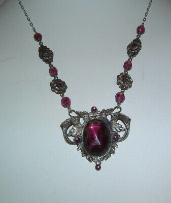 Antique Art Deco Nouveau Silver Drop Necklace W Amethyst Stones BEAUTIFUL