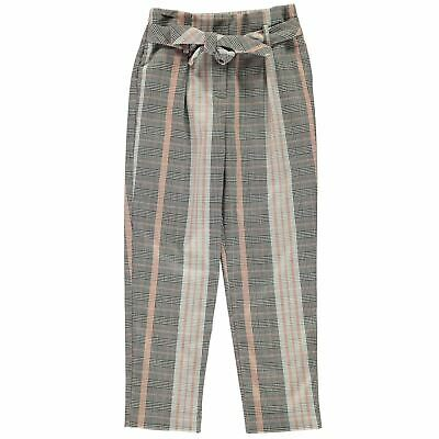 Firetrap Kids Girls Tapered Trousers Junior Pants Bottoms Checked Elasticated