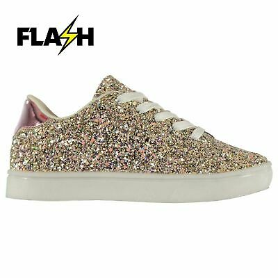 Fabric Kids Girls Flash Glittery Trainers Low Lace Up Padded Ankle Collar