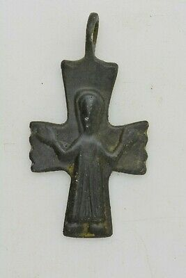 Byzantine bronze CROSS Virgin Mary raised hands 700 AD