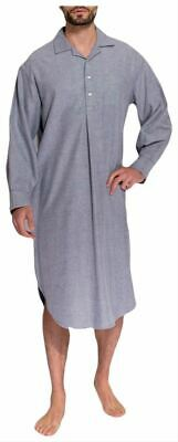 British Boxers Mens Ash Herringbone Two Fold Flannel Nightshirt - Grey