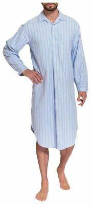 British Boxers Mens Westwood Stripe Two Fold Flannel Nightshirt - Blue