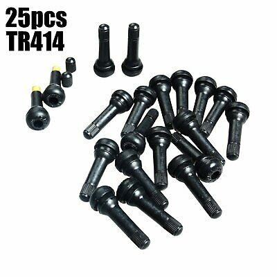 25pcs TR414 Snap-In Tire Wheel Valve Stems Medium Black Rubber Kit Universal