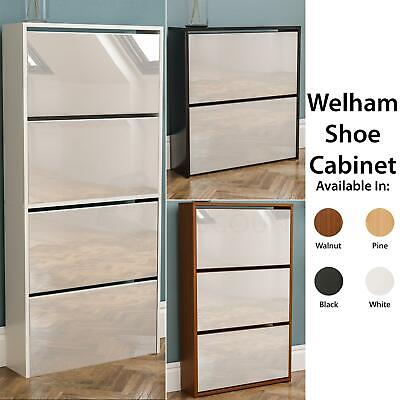 Welham 2 3 4 Drawer Shoe Cabinet Mirrored Storage Cupboard Footwear Stand Rack