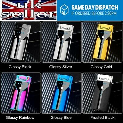 Electric Metal Cigarette Lighter Windproof Flameless Double Arc Plasma USB