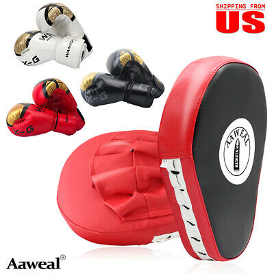 Boxing Gloves with Focus Pads Set Hook & Jabs Mitts Punch Bag Gym Training MMA