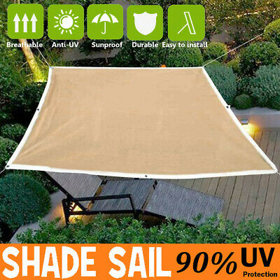 2-4M Sun Shade Sail Outdoor Garden Waterproof Awning Canopy Patio Cover UV Block