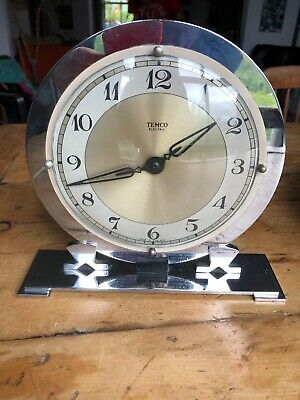 SUPERB TEMCO CHROME 1930's ART DECO ELECTRIC CLOCK PRESENTED RAF ENGRAVED