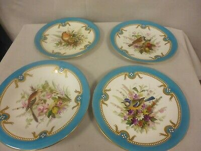 """Antique Worcester Hand Painted Birds China Jewel Decoration- 4X 9"""" Plates (Tr)"""