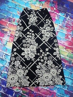 T70 Ladies Vintage Janet Colton Long Skirt Black And Gold Size 8