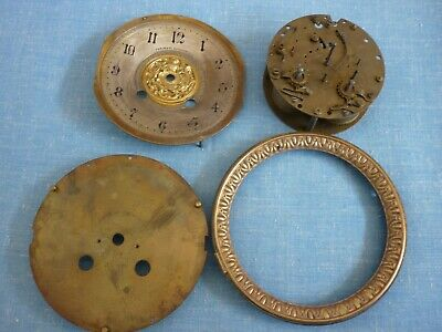 Antique H.a.c. Dodge & Co Clock Movement & Dial. For Spares. Parts.