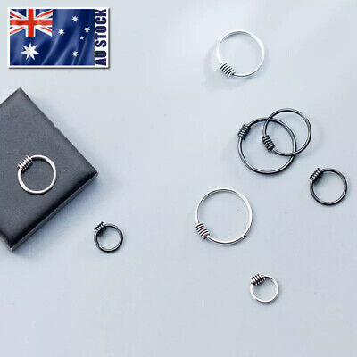 925 Sterling Silver Solid Hoop Ring Earrings Sleeper Lip Ear Nose Body Piercing
