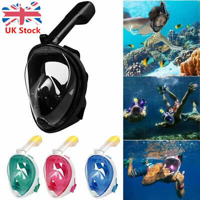 Anti-Fog Full Face Swimming Mask 180° Diving Snorkel Mask For Go Pro Dry UK