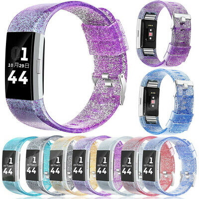 Clear Shiny Glitter Sport Silicone Bracelet  Band For Fitbit Charge 2/HR Tracker