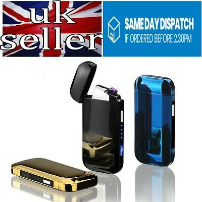 Electric Double Dual Arc Slim Rechargeable USB Pulse Plasma Led Display Lighter