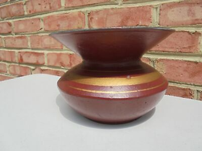 Antique Cast Iron Painted Red & Gold w White Enamel Spittoon Cuspidor