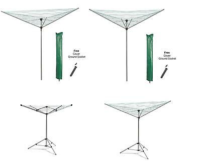 Outdoor Rotary Airer Garden Washing Line Heavy Duty Sturdy Dryer Laundry + Free