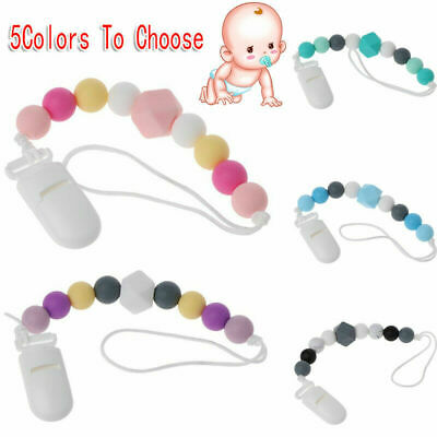 Baby Silicone Colourful Beaded Soother Pacifier Chain Nipple Teether Dummy Toy