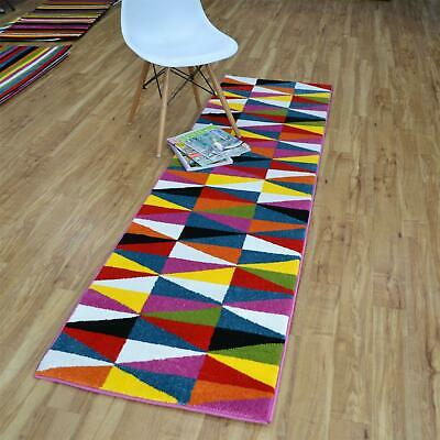 Modern Hallway Carved Multi Coloured Pansy Runners Stripes Zigzag Triangle Rugs