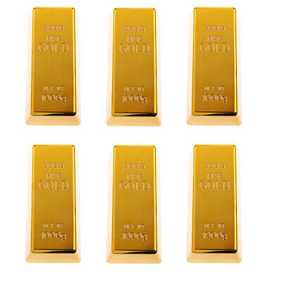 6pc Fake Gold Bullion Bar Paperweight Door Stop Heavy Polished 999.9
