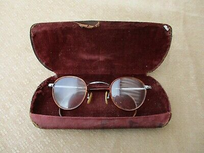 ANTIQUE FRENCH VICTORIAN ROUND EYE GLASSES WHTH ITS ORIGINAL CASE 19th CENTURY