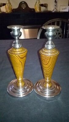 PAIR ART-DECO CANDLESTICKS. SOLID OAK WITH CHROME FITTINGS.WELL MADE. 9 ins.TALL