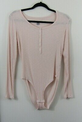 457f200219 aerie womens L pink ribbed henley bodysuit snaps one piece long sleeve  viscose