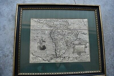 1598 Matthias Quad Engraved Map of South America  galleon  sea monster