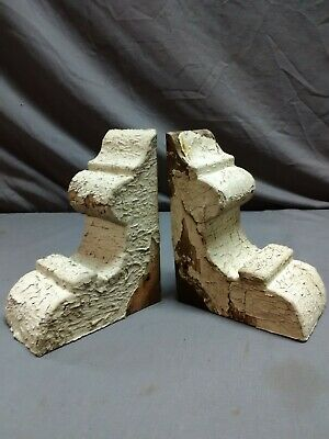 Antique Small Pair Wood Corbels Shabby Cottage Chic Gingerbread Vintage 07-19R