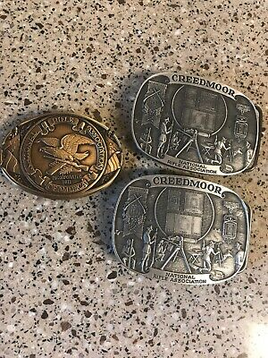 Lot of 3 NRA Belt Buckles Pewter Creedmoor & Solid Brass Limited Edition-EUC